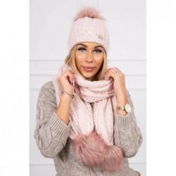 Set tricotat cu fular si caciula Pink White