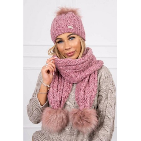Set tricotat cu fular si caciula Dark Pink
