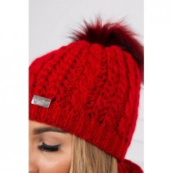 Set tricotat cu fular si caciula Red