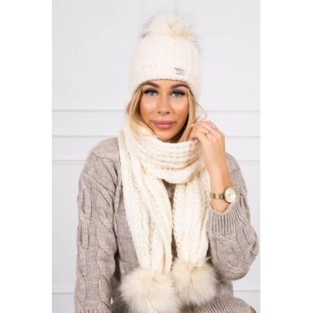 Set tricotat cu fular si caciula White Snow